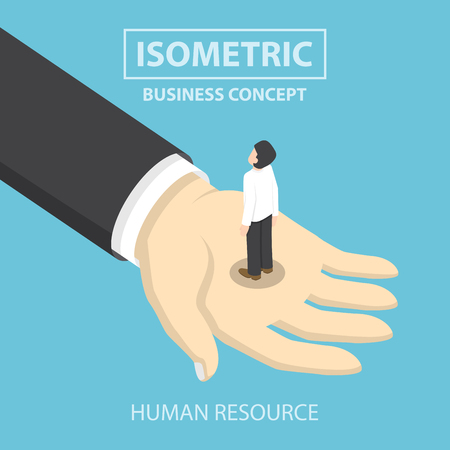 human hand: Businessman standing on the big hand, Flat 3d web isometric design