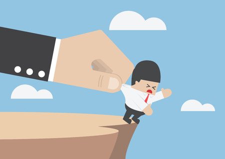 cliffs: Businessman who falling from cliff being helped by big hand, Business opportunity concept