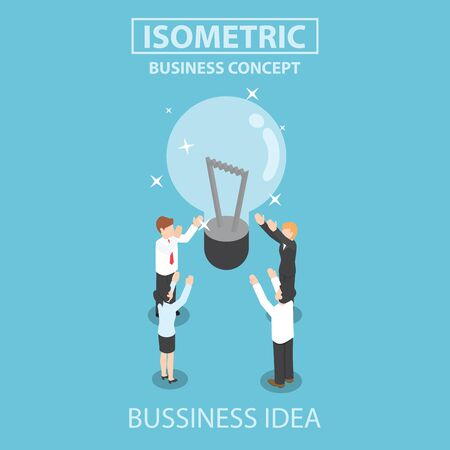 hands up: Businessman and businesswoman getting good idea, Flat 3d web isometric design Illustration
