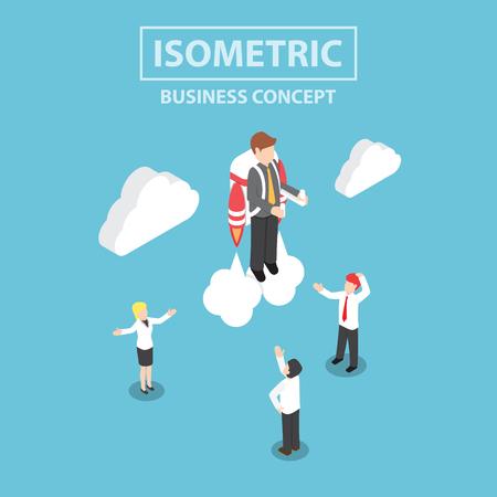 brandweer cartoon: Isometrische zakenman vliegen met een jet pack
