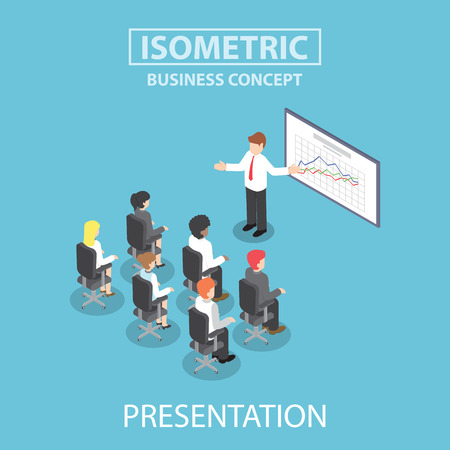 boss cartoon: Businessman giving a presentation in a conference meeting, Flat 3d web isometric design