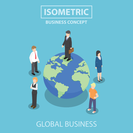 cartoon world: Businessman standing on the world, Global business, Success concept, Flat 3d web isometric design
