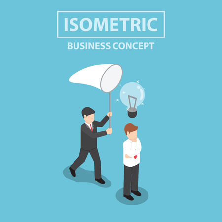 stealing: Businessman stealing light bulb of idea, Flat 3d web isometric design