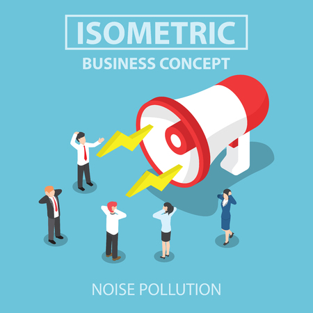Business people disturbed by the noise from big megaphone, Flat 3d web isometric design Çizim