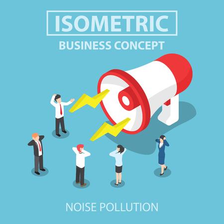 Mensen uit het bedrijfsleven gestoord door het lawaai van de grote megafoon, Flat 3d web isometrische ontwerp