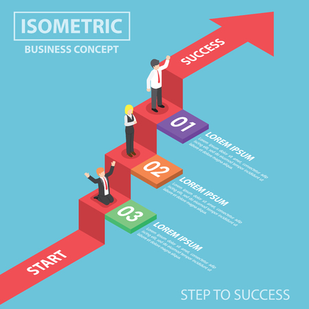 Business people on business graph ladder, Step to success, Flat 3d web isometric infographics design