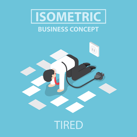 Tired businessman unplug and stop working, Flat 3d web isometric design Vetores