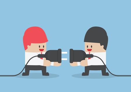 computadora caricatura: Dos hombre de negocios que intenta conectar el enchufe eléctrico en conjunto, Conexión, Trabajo en equipo concepto Vectores