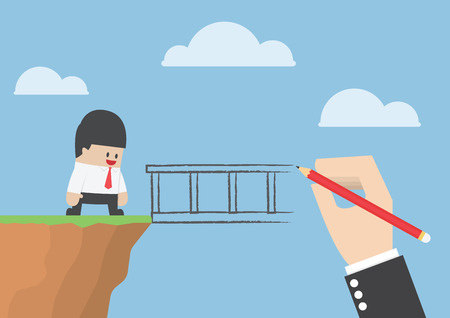 Big hand drawing a bridge for help businessman to cross abyss Stock Illustratie