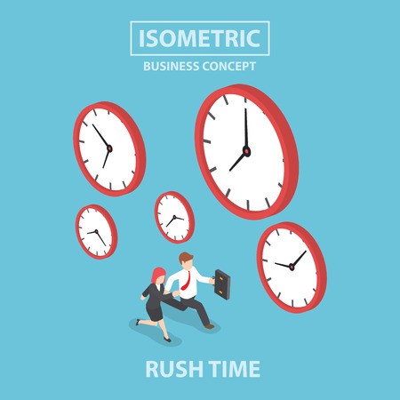 cartoon clock: Businessman and businesswoman in rush hour, Busy concept, Flat 3d web isometric design
