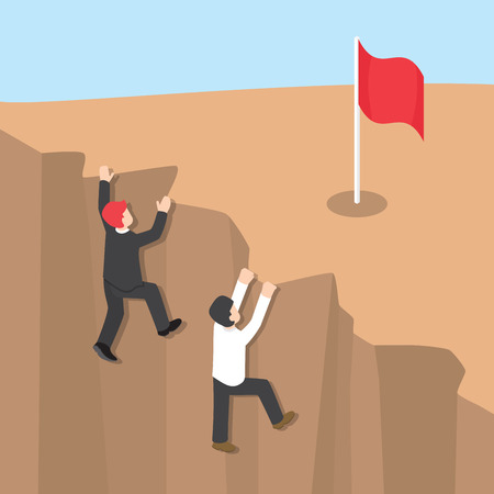 financial cliff: Businessman climb up the cliff to reaching his success, Challenges in achieving career goals, Business competition concept, Flat 3d web isometric design
