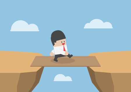 Businessman cross the cliff gap by wooden board as a bridge Ilustração