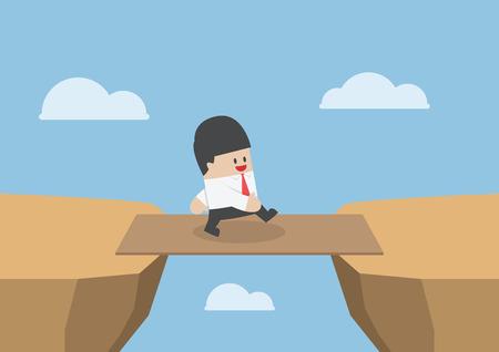 Businessman cross the cliff gap by wooden board as a bridge Stock Illustratie