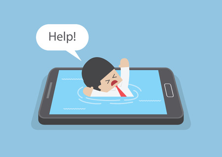 Businessman drowned or sank in the smartphone, Smart phone addiction concept Ilustrace