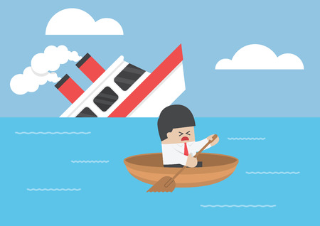 escape: Businessman escape  Illustration