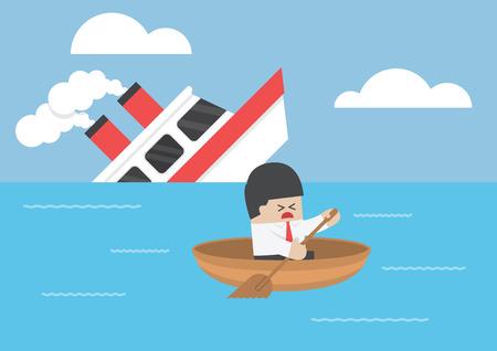 Businessman escape  Stock Illustratie