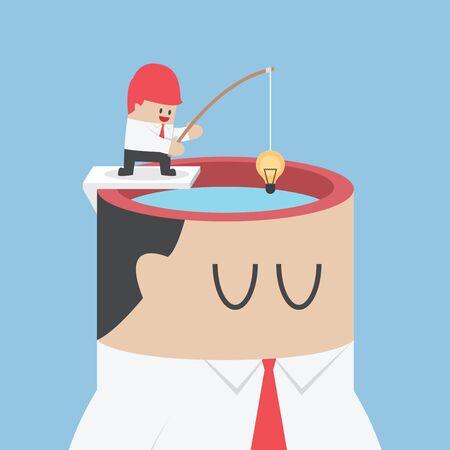 El hombre de negocios consigue idea de la cabeza humana por el gancho de pesca