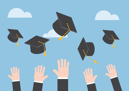 education cartoon: Businessman hands throwing graduation hat in the air
