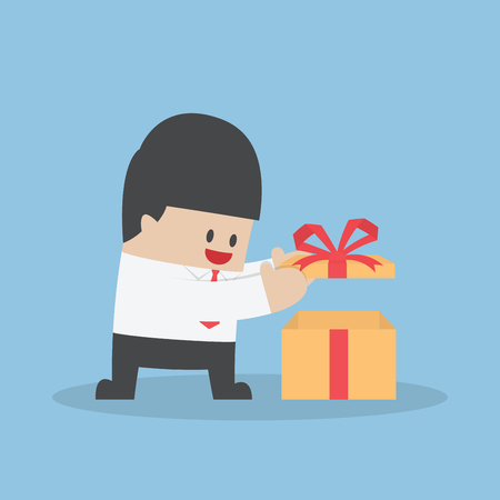 man illustration: Businessman opened the gift box, VECTOR, EPS10 Illustration