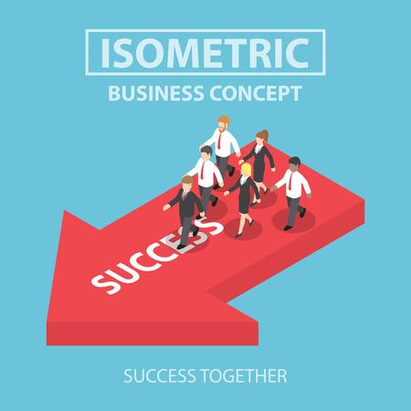 teamwork cartoon: Business leader bring his team to success, Flat 3d web isometric infographics design, VECTOR, EPS10