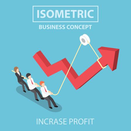 incremento: La gente de negocios tirando hacia arriba de la flecha del gráfico mediante el uso de la cuerda, diseño 3d web infografía isométricas plana, vector, EPS10