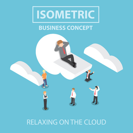 cloud vector: Businessman is relaxing while lying on a cloud,  Flat 3d web isometric infographics design, VECTOR, EPS10 Illustration