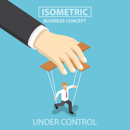 exploitation: Businessman are under control like a puppet by big hand, Flat 3d web isometric infographics design, VECTOR, EPS10