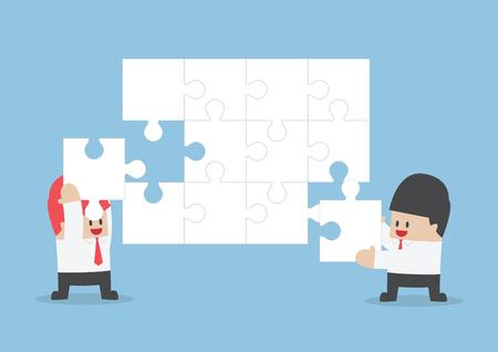 assemble: Businessman help each other to assemble blank jigsaw, VECTOR, EPS10