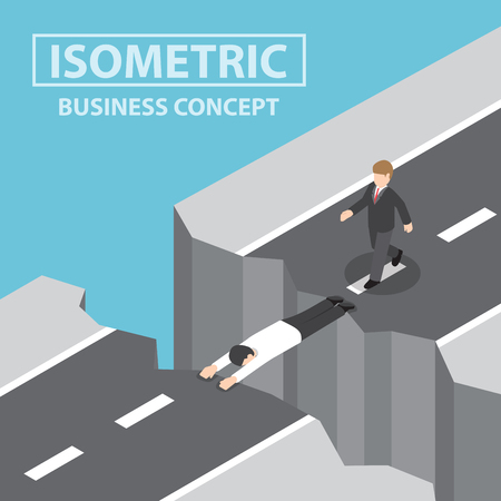 Businessman use himself as a bridge to pass a gap on the mountain, Flat 3d web isometric infographics design