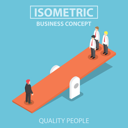 Quality businessman weighing more than four business people, Leadership, Important people concept, Flat 3d web isometric infographics design Stock Illustratie