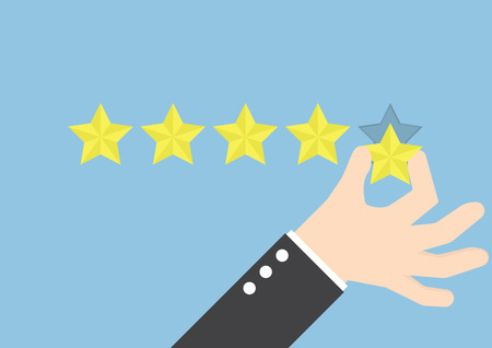 quality service: Businessman hand giving five star rating, Feedback concept