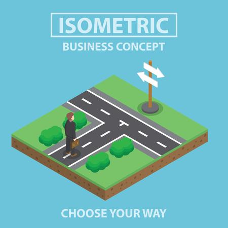 idea cartoon: Businessman standing in front of crossroad, Flat 3d web isometric infographics design Illustration