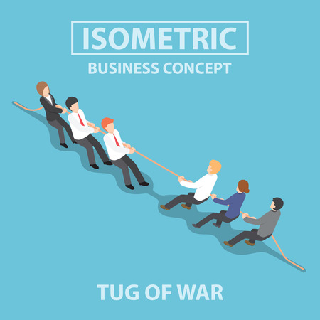 Business people playing tug of war, Competition concept, Flat 3d web isometric info graphics design