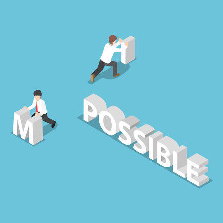 possible: Isometric businessman change the word impossible to possible
