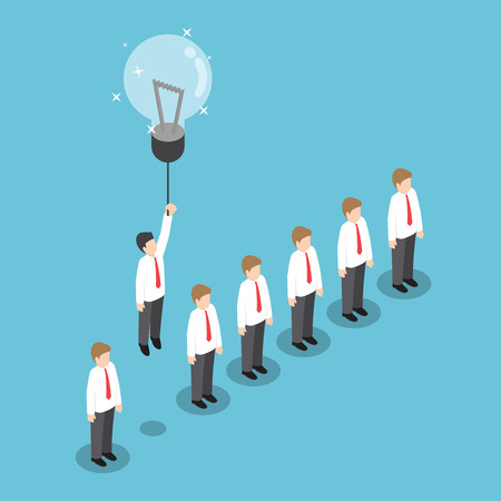 Isometric businessman flying out from the crowd by light bulb of idea