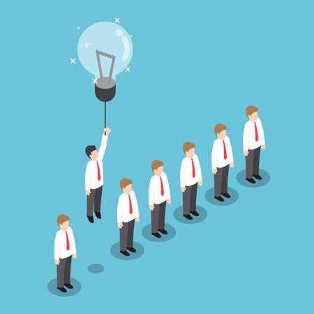 menschenmenge: Isometrischen Geschäftsmann fliegt sich von der Masse durch Glühbirne Idee