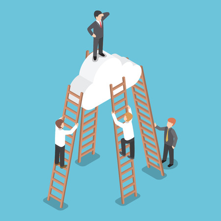 competition success: Isometric businessman standing on the cloud and look around with his rival climbing the ladder to reach him, Vision, Success, Leadership concept Illustration