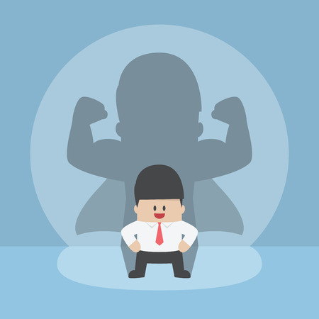 Biznesmen z jego silne cienia, sukces, przywództwo, przekonany koncepcji