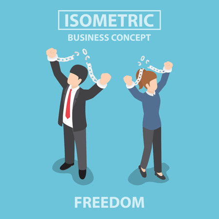 chains: Isometric business People breaking metal chain to freedom