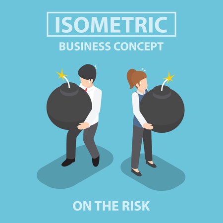 human time bomb: Isometric business people holding heavy bomb on their hands, risk , crisis, concept