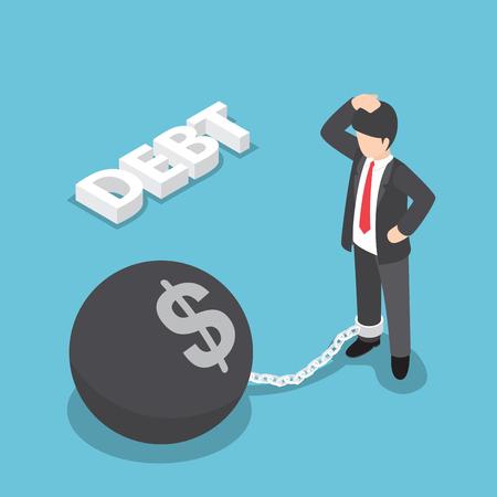 pelota caricatura: hombre de negocios isométrica en cadena con gran bola de metal, la quiebra, concepto de la deuda