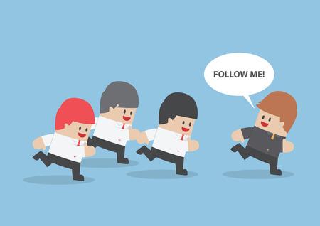 following: Businessman run following the leader Illustration
