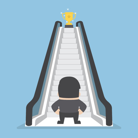 easy way: Businessman standing in front of escalator that leads the trophy, Shortcut to success