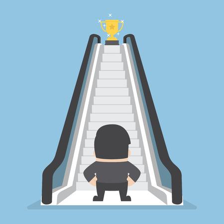 Homme d'affaires debout devant escalator qui mène le trophée, raccourci vers la réussite Vecteurs