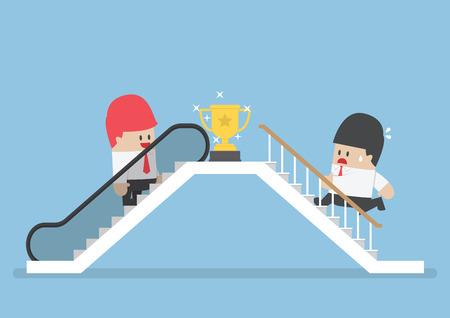 El hombre de negocios que utilizan escaleras mecánicas para el éxito y su rival subiendo la escalera, atajo hacia el éxito