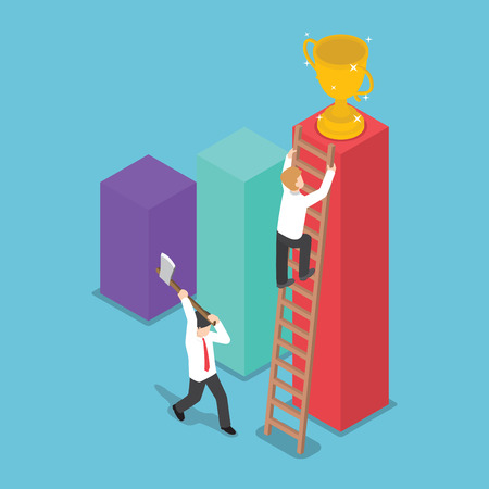 rival: Isometric design businessman destroy the ladder of success of his rival by using axe