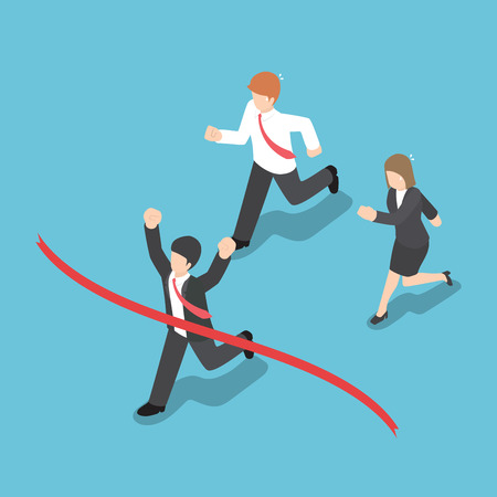 Isometric design businessman winning competition and crossing the finish line Illustration