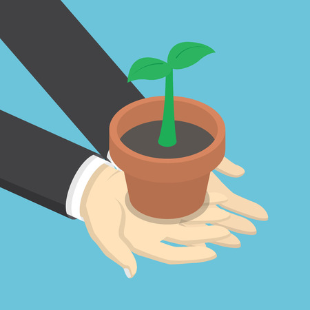 hands holding plant: Isometric businessman holding sprout or little plant in his hands, business growth, ecology concept Illustration