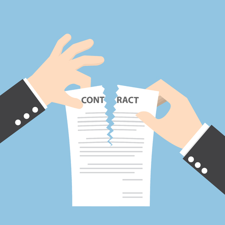 Businessman hands tearing apart contract document Çizim