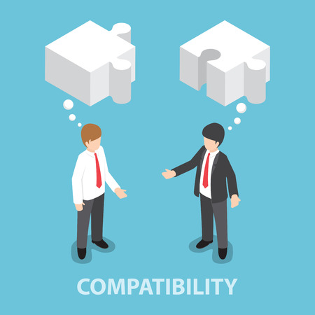 teamwork cartoon: Isometric businessman in conversation with blank speech jigsaw shape, compatibility, collaboration, joint efforts concept